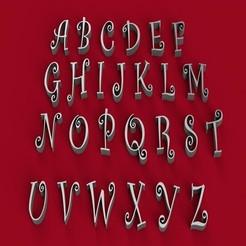 3D printer files CURLZ font uppercase 3D letters STL file, 3dlettersandmore