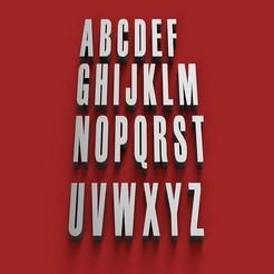 RENDER.jpg Télécharger fichier STL HAETTEN police lettres majuscules 3D fichier STL lettres majuscules • Design à imprimer en 3D, 3dlettersandmore
