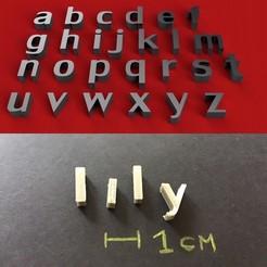 Descargar modelos 3D gratis LILY Font minúsculas letras 3D archivo STL, 3dlettersandmore