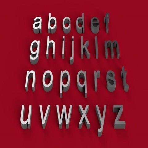 Descargar STL Fuente ARIAL letras minúsculas 3D archivo STL, 3dlettersandmore