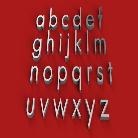 Download 3D printing models LUZ SANS BOOK font lowercase 3D letters STL file, 3dlettersandmore