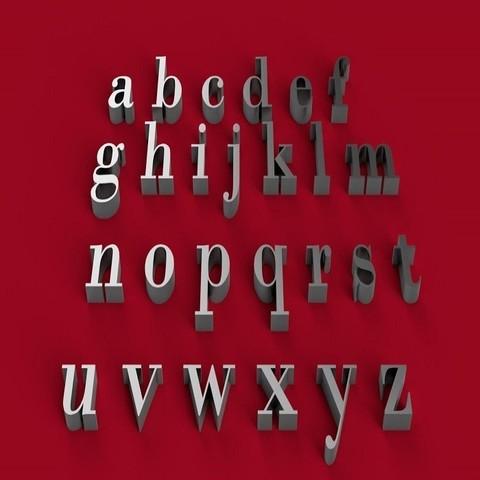 BODONI font lowercase 3D letters STL file