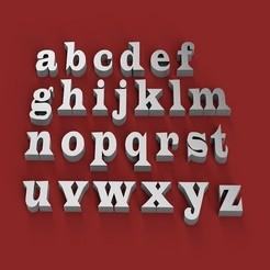 Imprimir en 3D WIDE LATIN letras minúsculas 3D archivo STL, 3dlettersandmore