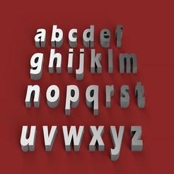 Download 3D printer designs ERASBOLD font lowercase 3D letters STL file, 3dlettersandmore