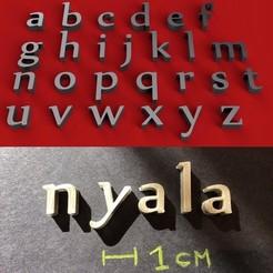 foto.jpg Download STL file NYALA Font lowercase 3D letters STL file • 3D printer design, 3dlettersandmore