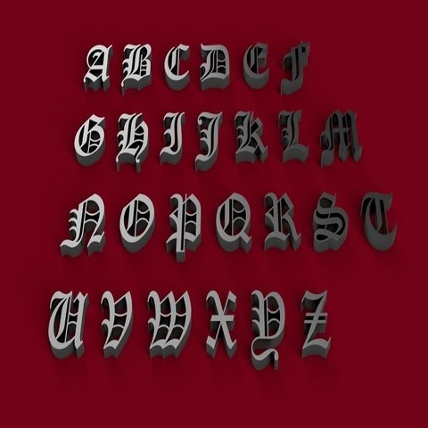 OLD ENGLISH font uppercase 3D letters STL file