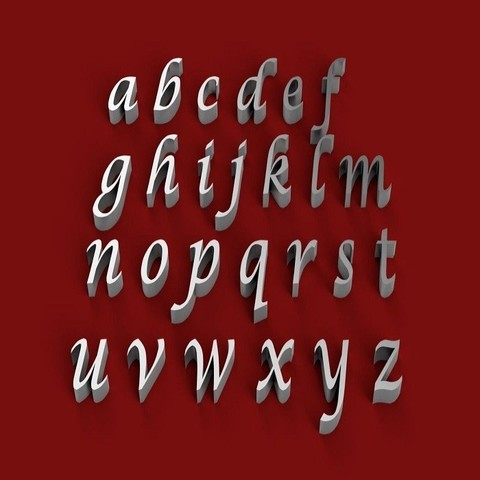 Download STL files LUCIDA CALLIGRAPHY font lowercase 3D letters STL file, 3dlettersandmore