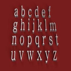 rendermin.jpg Télécharger fichier STL BATANG Police de caractères minuscules 3D lettres fichier STL • Design pour impression 3D, 3dlettersandmore