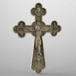 Imprimir en 3D gratis Marco religioso cnc art router cruz jesucristo, Terhrinai
