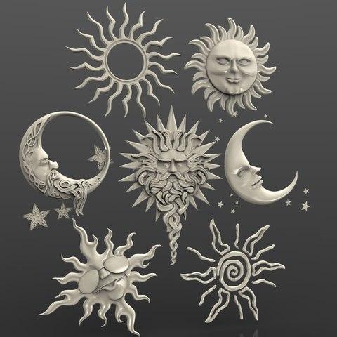 Télécharger plan imprimante 3D gatuit soleil lune art cnc routeur art, Terhrinai