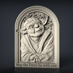 285.jpg Download free STL file Yoda star wars may the force be with you cnc router bust • 3D print template, Terhrinai