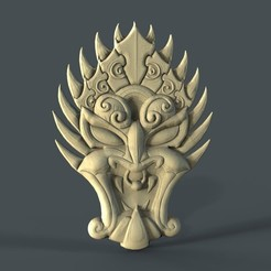 Descargar diseños 3D gratis máscara cnc art face bad mood devil, Terhrinai