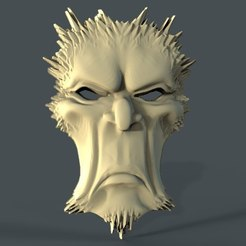 Impresiones 3D gratis máscara cnc art face bad mood, Terhrinai