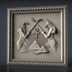 Descargar diseños 3D gratis Horus osiris dios egipcio cnc router art pyramid, Terhrinai