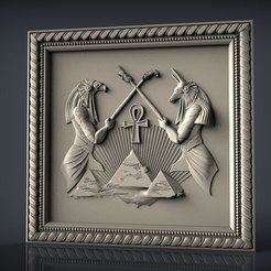 Télécharger fichier STL gratuit Horus osiris dieu égyptien cnc routeur art art pyramide, Terhrinai