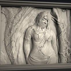 Descargar diseños 3D gratis Chica mujer en el bosque cnc art, Terhrinai