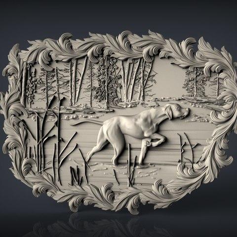 Download free 3D printer model greyhound dog hunting scene