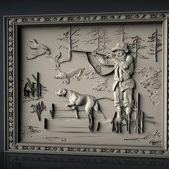 Descargar Modelos 3D para imprimir gratis Escena de caza perros patos perro y cazador cnc art frame, Terhrinai