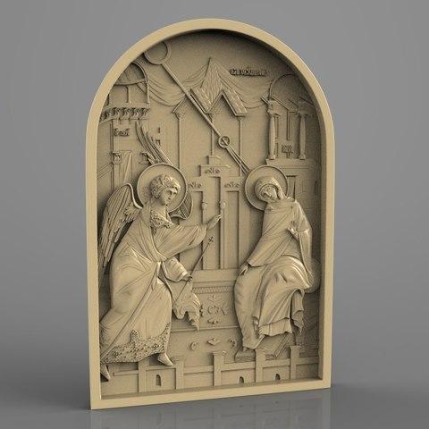 Impresiones 3D gratis blagoveshenie bogorodici santo arte religioso, Terhrinai