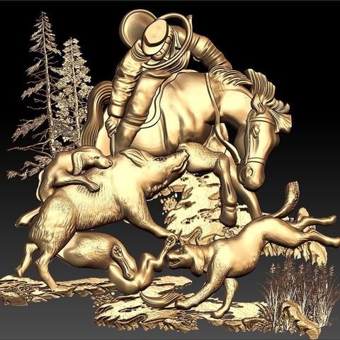 Télécharger fichier imprimante 3D gratuit Chasseur de scène de chasse sur un cheval avec des chiens et des animaux sauvages cnc cnc art frame, Terhrinai