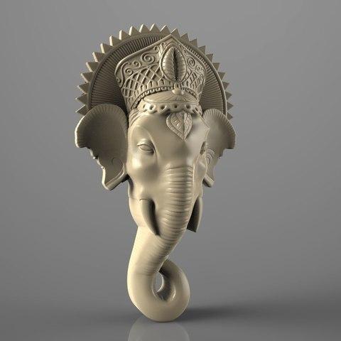 Imprimir en 3D gratis Golova slona elephant bust cnc art router, Terhrinai