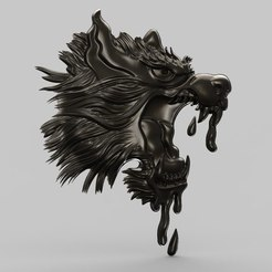 Descargar modelos 3D gratis Lobo con la boca en blanco, Terhrinai