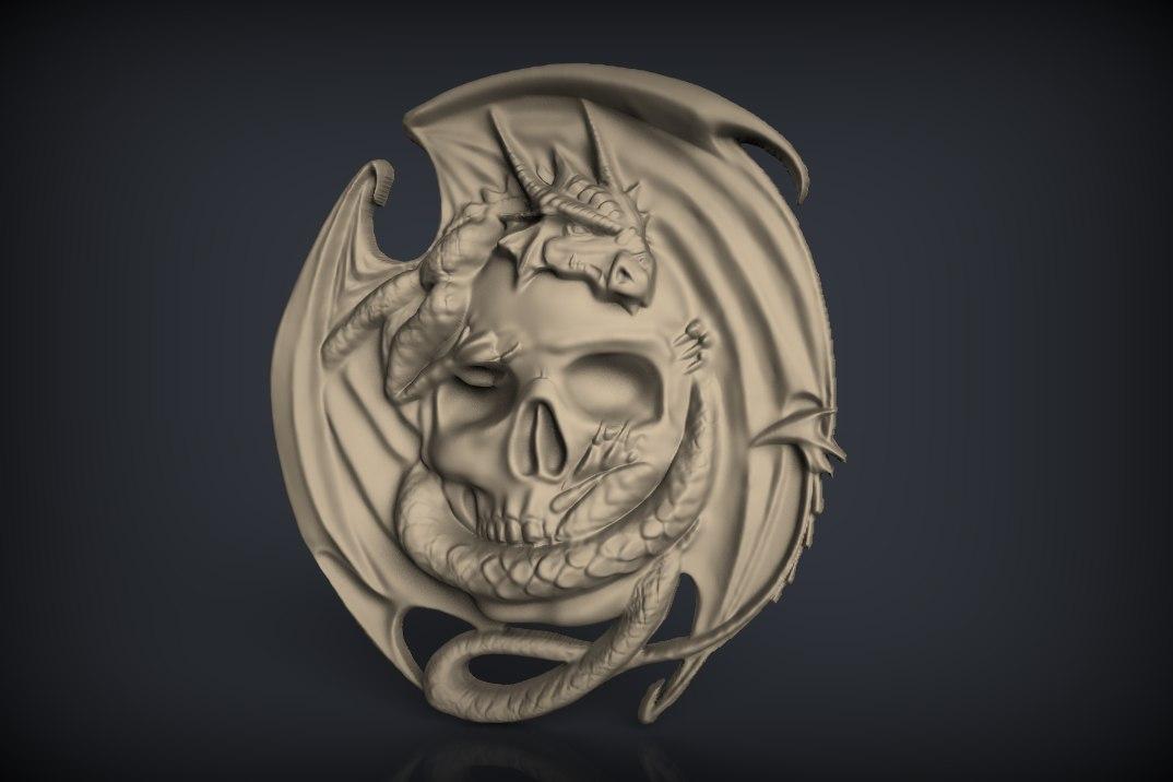 291.jpg Download free STL file Skull with dragon cnc router art  • 3D printing model, Terhrinai