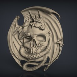 Download free 3D printing models Skull with dragon cnc router art , Terhrinai