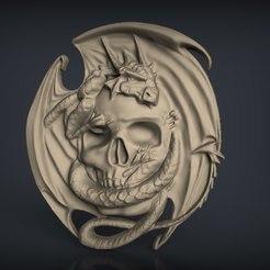 Descargar Modelos 3D para imprimir gratis Cráneo con arte de enrutador cnc dragón, Terhrinai