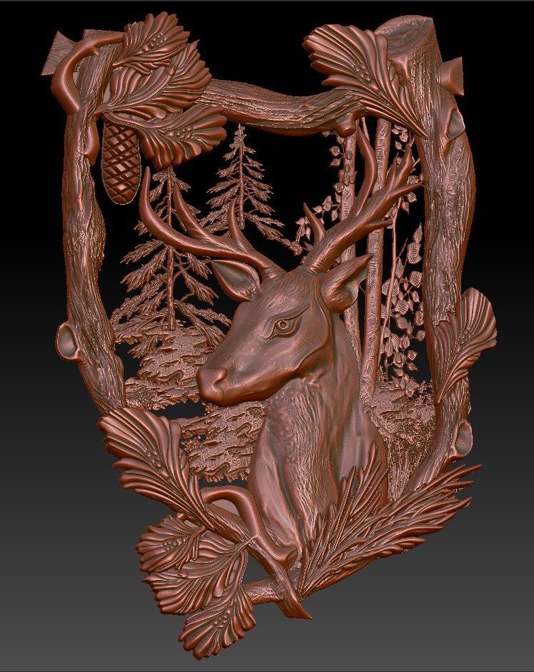 20.jpg Download free STL file Deer cnc router in the forrest frame • Design to 3D print, Terhrinai