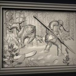 Télécharger STL gratuit ours attaqué par des chiens et un chasseur cnc routeur scène de chasse, Terhrinai