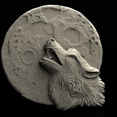 Descargar archivo 3D gratis lobo bajo la luna screeming cnc art router modelo 3D, Terhrinai