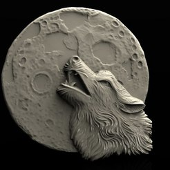 Descargar archivo 3D gratis lobo bajo la luna screeming cnc art router modelo 3D, Terhrinai