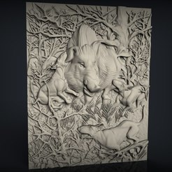 710_Panno.jpg Télécharger fichier STL gratuit Chiens de scène de chasse sanglier chien sanglier et chasseur cnc art frame • Design pour imprimante 3D, Terhrinai