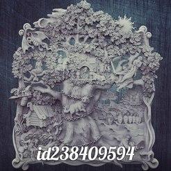 Télécharger modèle 3D gratuit U lukomorya cnc routeur art arbre arbre scène art art, Terhrinai