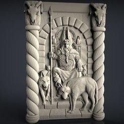 Descargar archivos STL gratis Odín con 2 lobos en su trono dios arte cnc router máquina, Terhrinai