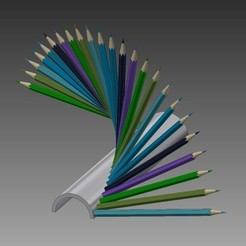 Support-Crayon-2-1.jpg Download STL file Pencil holder • 3D printable template, caster
