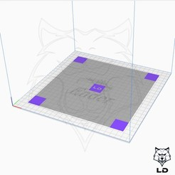 Download free STL files LD 5 Point Print Bed Level & Adhesion Test MK1, Lobo_Dorado_3D