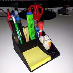 2013-10-10_14.07.51_display_large.jpg Download free STL file pen holder - eliminates desktop clutter • 3D printer design, Porelynlas
