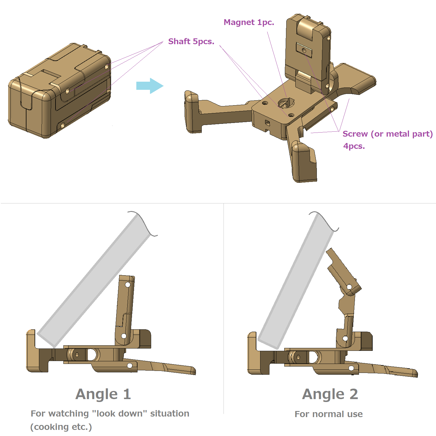 Image-foldable-stand.png Download free STL file Foldable compact smartphone stand (rectangular shape) • Design to 3D print, yukio