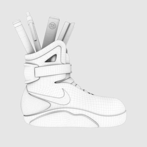 AOwireframe_display_large.jpg Télécharger fichier STL gratuit Air Mag Sneakers Porte-stylos • Modèle imprimable en 3D, Reneton
