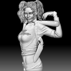 Harley Quinn STL file relief for CNC router 3D model.jpg Download STL file Harley Quinn STL file 3d model portrait relief for CNC router • 3D printable model, voronzov