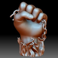 BLM logo sign hand fist flame 3d printable model stl file.jpg Télécharger fichier STL BLM signe logo main poing fichier STL modèle 3D imprimable Black Lives • Design imprimable en 3D, voronzov