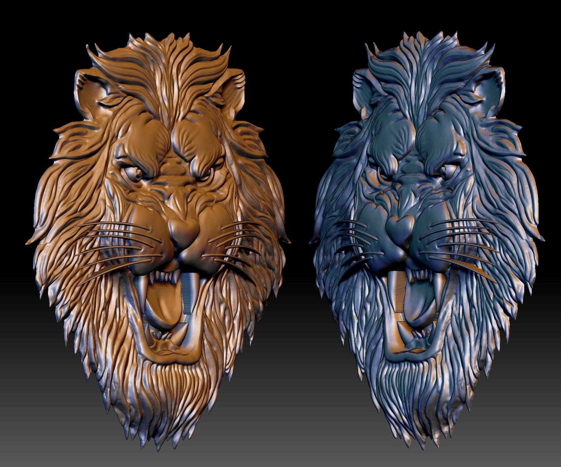 Download STL file Lion head STL file 3d model - relief for