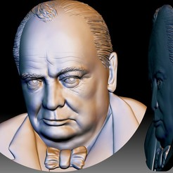 Churchill STL 3d portrait for CNC.jpg Download STL file Churchill STL portrait 3d file bas-relief model for CNC router or 3d printer • 3D print model, voronzov