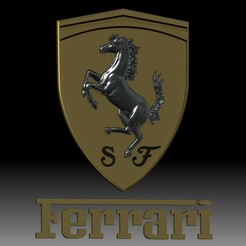 Ferrari logo 3D model for CNC router or 3D printer s.jpg Download STL file Ferrari car auto logo 3D model for 3D printer or CNC router • 3D printing design, voronzov