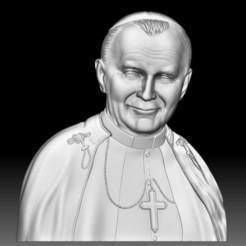 Pope John Paul II relief 3D model STL file for CNC router.jpg Télécharger fichier STL Le pape Jean-Paul II a déposé en STL un modèle de portrait en relief en 3d pour une défonceuse CNC • Design imprimable en 3D, voronzov