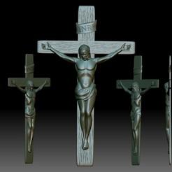 Descargar archivos STL Modelo de crucifijo STL - Archivo en relieve 3D para fresadora CNC - crucifixión de Jesús, voronzov