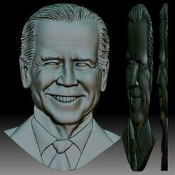 Biden portrait Bas-relief for CNC router or 3D printer square.jpg Télécharger fichier STL Portrait en relief pour routeur CNC ou imprimante 3D • Modèle pour impression 3D, voronzov