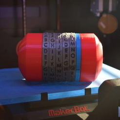 Download free 3D printing templates Cryptex with user customizable codes, Urulysman